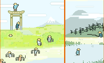 Cropping of the 8-bit ukiyo-e project from the pre-history of SUPERBROTHERS
